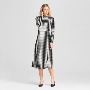 Striped ribbed midi dress long sleeve nwot